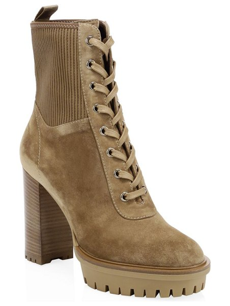Gianvito Rossi suede lace-up block heel booties in camel - From the Saks It List: The Mod Shoe. Hiker-style, ribbed...