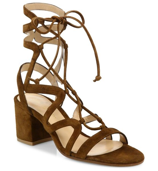 GIANVITO ROSSI suede lace-up block heel sandals in texas - Curvy caged straps frame suede lace-up silhouette....