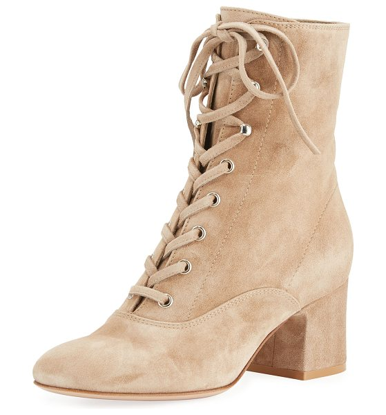 """GIANVITO ROSSI Mackay Suede Lace-Up 60mm Bootie - Gianvito Rossi suede bootie. 2.4"""" covered block heel...."""