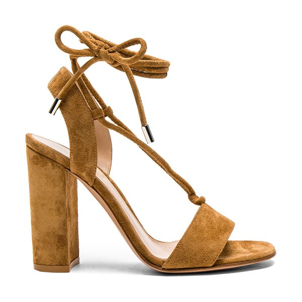Gianvito Rossi Suede Lace Up Heels in almond - Suede upper with leather sole. Made in Italy. Approx...