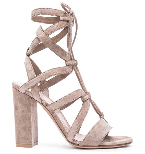Gianvito Rossi Suede Lace Up Heels in neutrals - Suede upper with leather sole.  Made in Italy.  Approx...