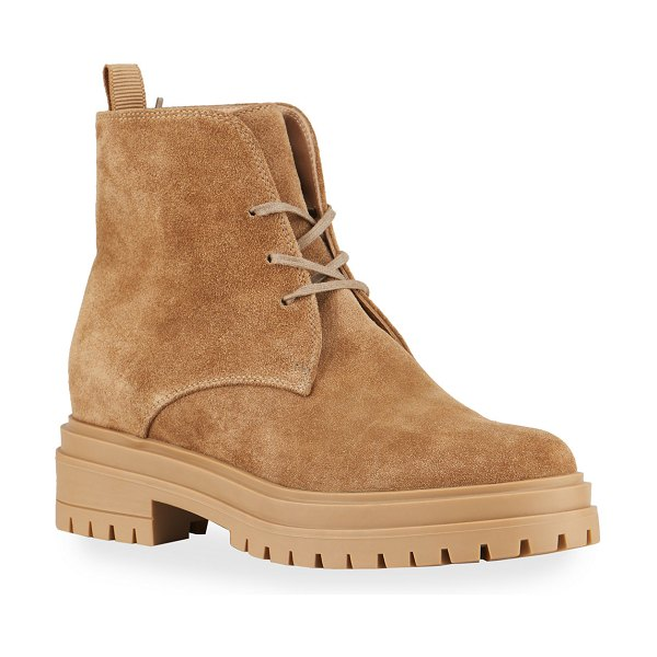 Gianvito Rossi Suede Lace-Up Hiker Booties in camel caml