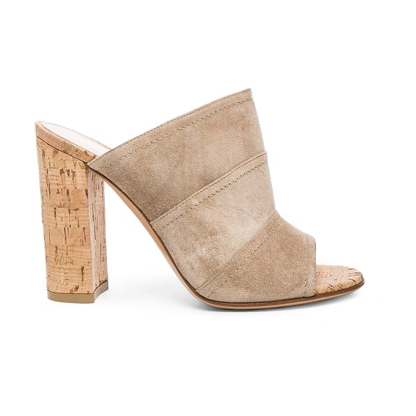 Gianvito Rossi Suede Cork Mules in neutrals - Suede upper with leather sole.  Made in Italy.  Approx...