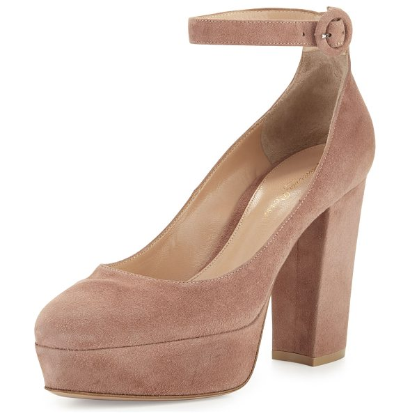 "Gianvito Rossi Suede Platform Ankle-Strap Pump in neutral - Gianvito Rossi pump with suede upper. 4"" covered block..."