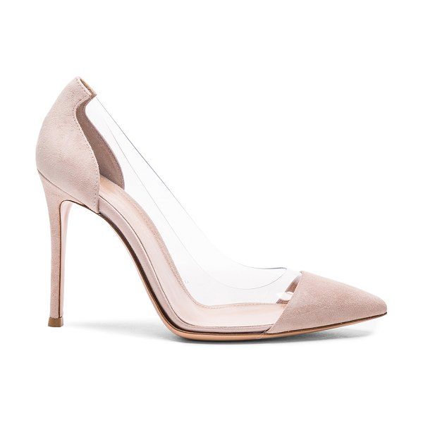 Gianvito Rossi Suede & Plexi Pumps in neutrals - Suede upper with leather sole.  Made in Italy.  Approx...
