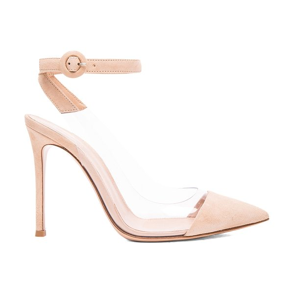 Gianvito Rossi Suede Plexi Slingback Pumps in nude & transparent - Suede upper with leather sole. Made in Italy. Approx...