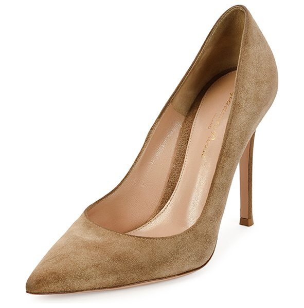 "Gianvito Rossi Suede point-toe 105mm pump in bisque - Gianvito Rossi suede pump. 4. 3"" covered heel. Pointed..."