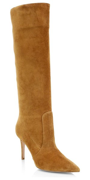 Gianvito Rossi suede point toe tall boots in almond