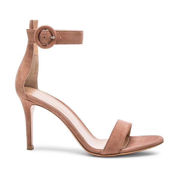 Gianvito Rossi Suede Portofino Heels in neutrals - Suede upper with leather sole.  Made in Italy.  Approx...