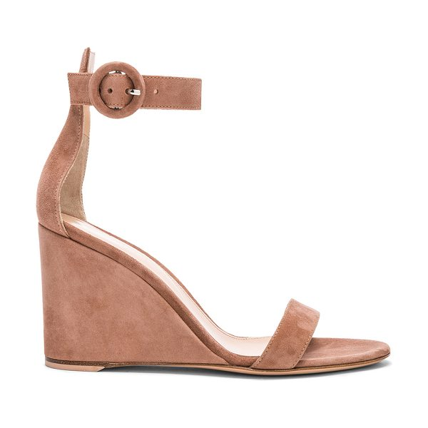 Gianvito Rossi Suede Portofino Wedges in pink - Suede upper with leather sole.  Made in Italy.  Approx...