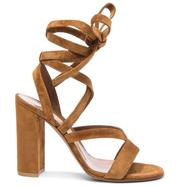 Gianvito Rossi Suede janis high sandals in brown - Suede upper with leather sole.  Made in Italy.  Approx...