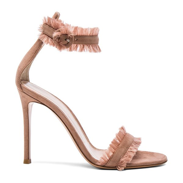 Gianvito Rossi Suede & Satin Heels in pink - Suede upper with leather sole.  Made in Italy.  Approx...