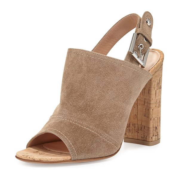 "GIANVITO ROSSI Marcy Suede Slingback Sandal in bisque - Gianvito Rossi suede sandal. 4"" cork block heel. Open..."