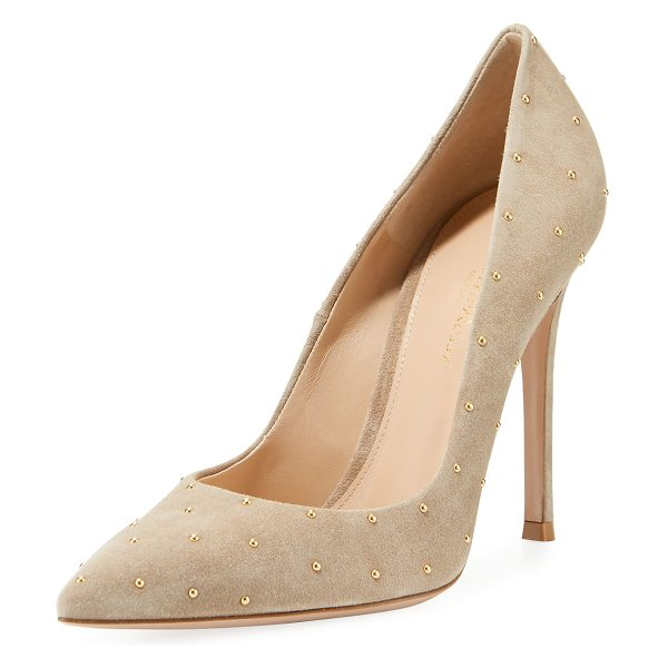"GIANVITO ROSSI Suede Studded 105mm Pump - Gianvito Rossi suede pump with golden stud trim. 4.3""..."