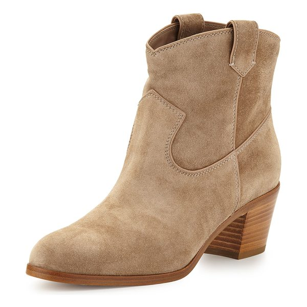 "GIANVITO ROSSI Suede Western Ankle Bootie - Gianvito Rossi suede ankle bootie. 1.8"" stacked heel...."