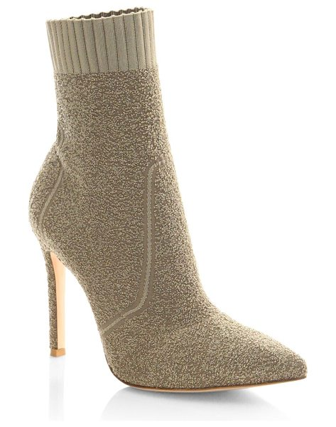 Gianvito Rossi knit boucle sock booties in bisque - Stretch booties featuring ribbed collar. Stiletto heel,...