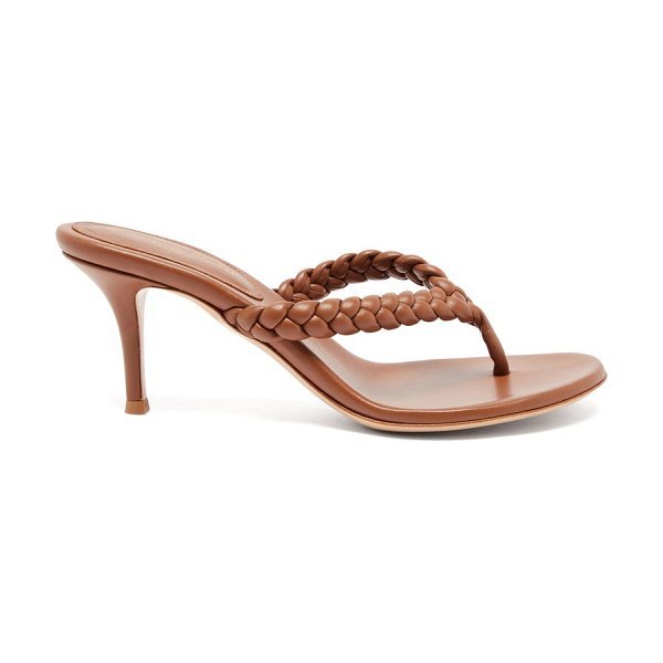 Gianvito Rossi tropea 70 braided leather sandals in tan