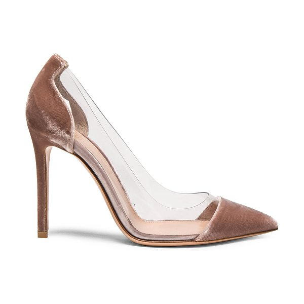 Gianvito Rossi Velvet Plexi Pumps in neutrals -  - Velvet upper with leather sole.  Made in Italy. ...