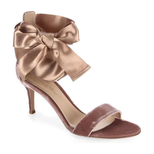 GIANVITO ROSSI velvet satin bow sandals in rosie - Luxe velvet sandal with elegant satin ankle tie....