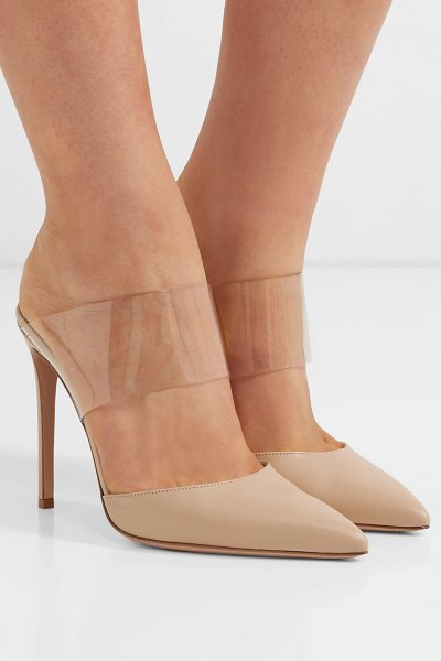 Gianvito Rossi virtua 105 pvc and leather mules in neutral - EXCLUSIVE AT NET-A-PORTER.COM. The combination of...