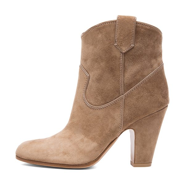 Gianvito Rossi Western suede booties in neutrals - Suede upper with leather sole.  Made in Italy.  Approx...