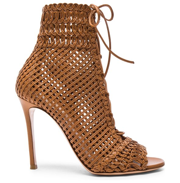 Gianvito Rossi Woven Leather Booties in brown - Woven leather upper with leather sole.  Made in Italy. ...