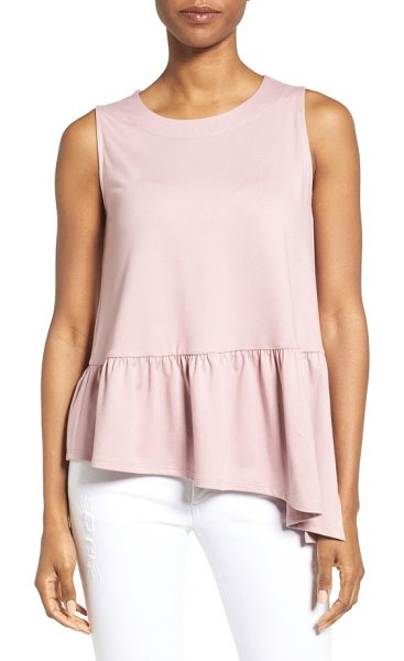 Gibson asymmetrical ruffle hem top in mauve - Flounced and ruffled, the asymmetrical hem panel brings...