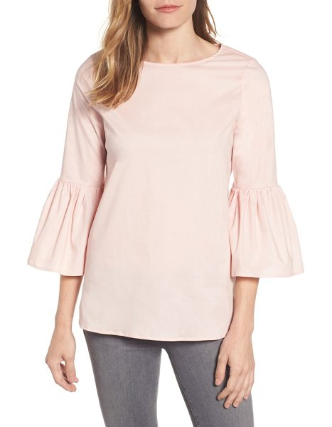 Gibson bell sleeve poplin top in blush - Ruffled bell sleeves add a flirty touch to a relaxed top...
