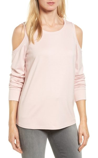 Gibson cold shoulder sweatshirt in pink smoke - Shoulder-baring cutouts elevate a weekend-staple...