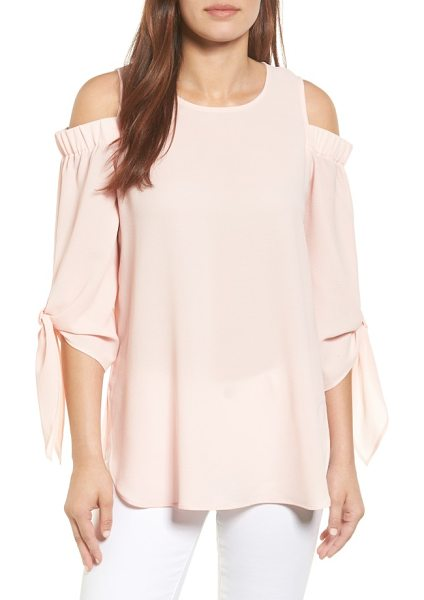 Gibson cold shoulder top in blush - Sleeve ties add feminine frill to a textured crepe top...