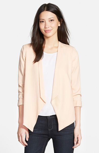 GIBSON drape open front blazer - A fitted, cutaway jacket in a textured fabrication gets...