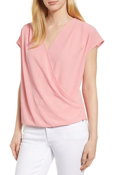 Gibson draped faux wrap top in pink - Fashioned with fit-forgiving drape, a faux wrap top with...