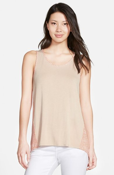Gibson mixed media high/low tank in oatmeal orange stripe - A scoop-neck tank gets a fresh look with print woven...