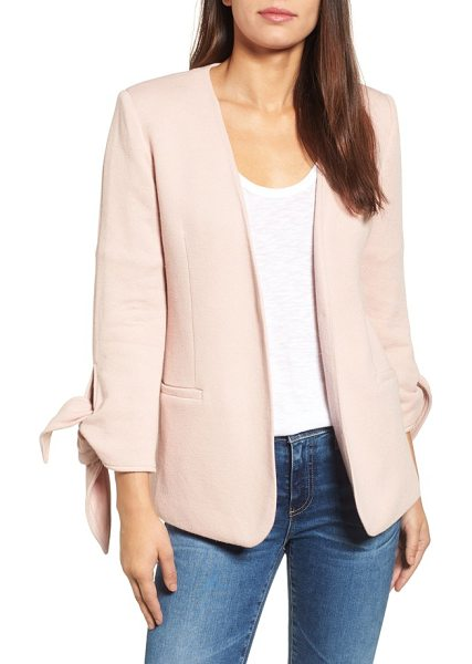 Olivia Moon tie sleeve knit blazer in pink smoke - A minimalist blazer takes on casual-chic appeal cut from...