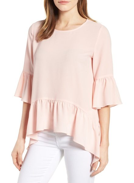 Gibson ruffled handkerchief hem top in blush - Flirty, flouncy ruffles are the main attraction of this...