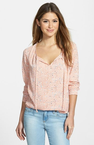 Gibson print split neck blouse in blush/ blue - Gentle gathers at the front and back create flowy...