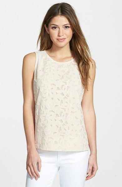 Gibson sleeveless embroidered mesh front top in blush floral - Embroidered appliques add a dose of feminine charm to...