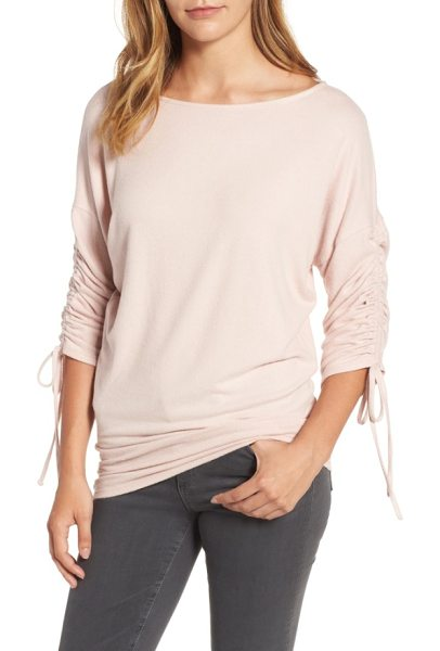 Gibson tie sleeve cozy fleece top in pink smoke - Drawstrings ruching the dolman sleeves add a fun touch...