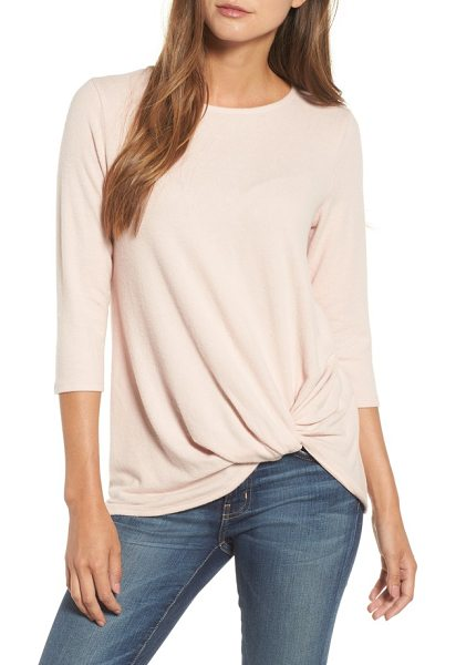 Gibson cozy twist front pullover in pink smoke