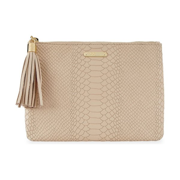 Gigi New York all-in-one python-embossed leather clutch in almond