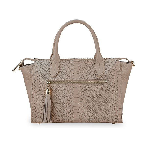 Gigi New York grace python-embossed leather satchel in stone