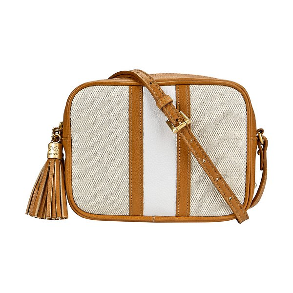 Gigi New York Maddie Canvas Camera Crossbody Bag in camel
