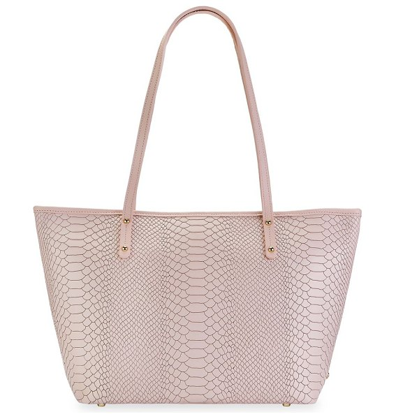 Gigi New York taylor python-embossed leather tote in nude