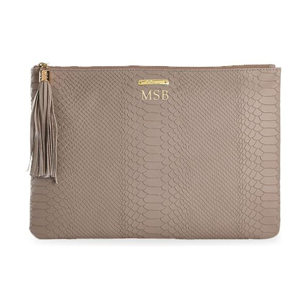 Gigi New York uber python-embossed leather clutch in stone
