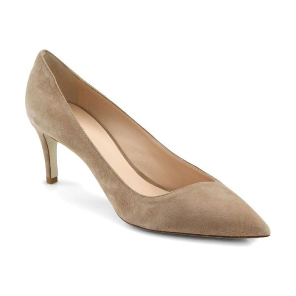 Giorgio Armani Asymmetrical 65 suede pumps in beige - Softly tailored in plush Italian suede, this...