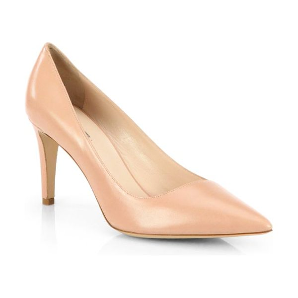 Giorgio Armani Asymmetrical leather pumps in beige - A slanted vamp characterizes a timeless point-toe pump...