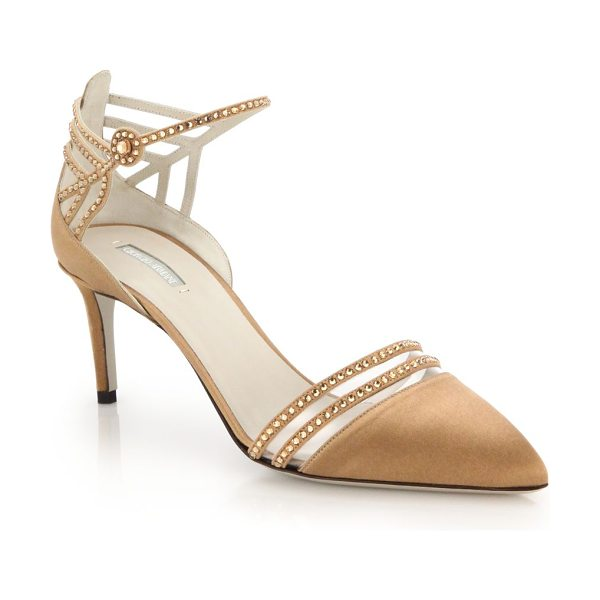 Giorgio Armani Crystal satin slingback pumps in gold - Crystals dust the intricate cutout front of these...