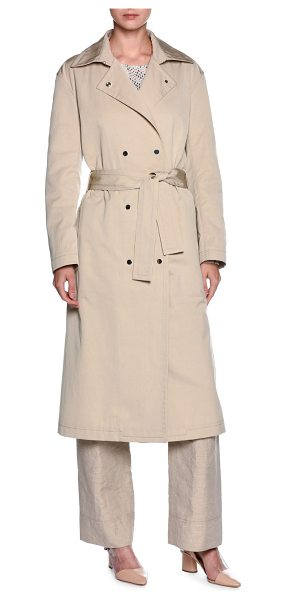 Giorgio Armani Double-Breasted Belted Trenchcoat in beige - Giorgio Armani water-resistant woven trenchcoat. Spread...