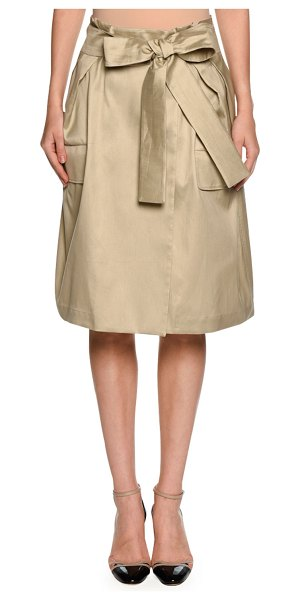Giorgio Armani High-Waist Belted Wrap Skirt in beige - Giorgio Armani cotton-blend wrap skirt. Side patch...