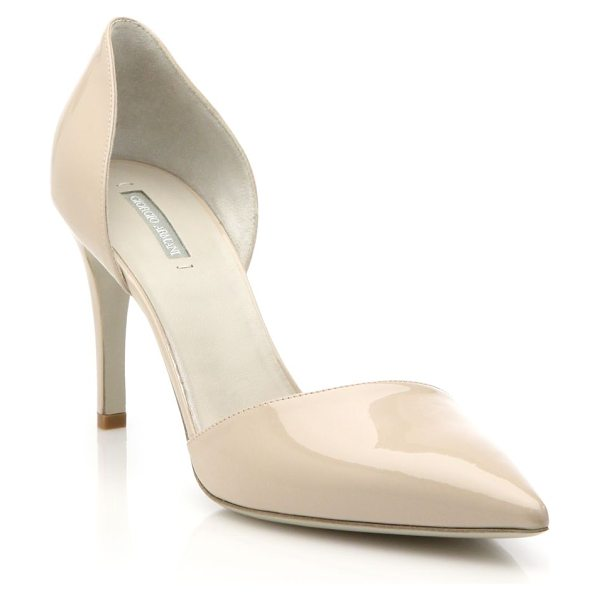 Giorgio Armani patent leather d'orsay pumps in nude - These sleek d'Orsay pumps of high-shine patent leather...